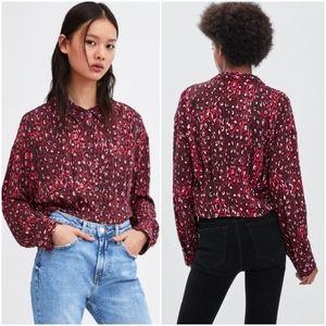Zara animal print cropped top